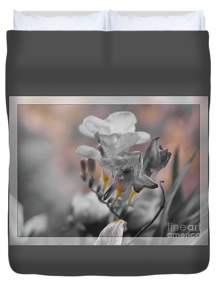 Duvet Cover featuring the photograph We Fade To Grey Freesia's by Lance Sheridan-Peel