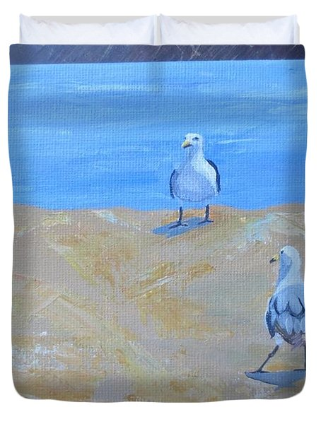 We First Met On The Beach Duvet Cover