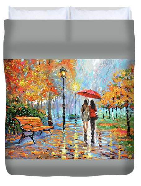 Duvet Cover featuring the painting We Met In Park          by Dmitry Spiros