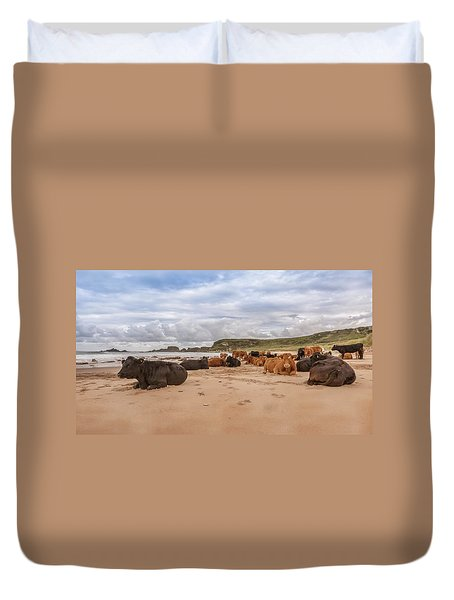We Moo Like To Be Beside The Seaside Duvet Cover by Roy McPeak