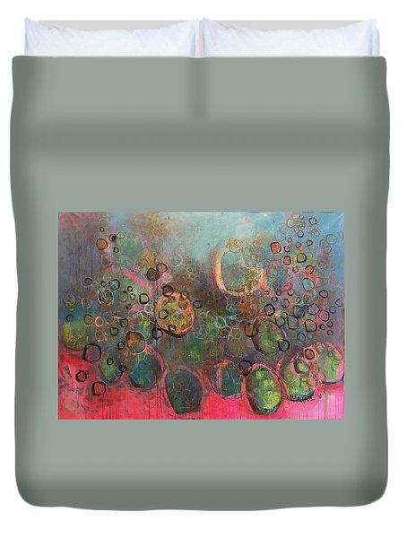 Duvet Cover featuring the painting We Never Finish Where We Begin by Laurie Maves ART