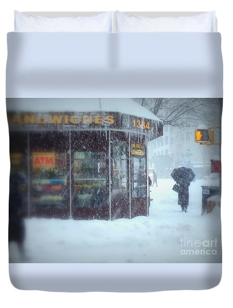 We Sell Flowers - Winter In New York Duvet Cover by Miriam Danar