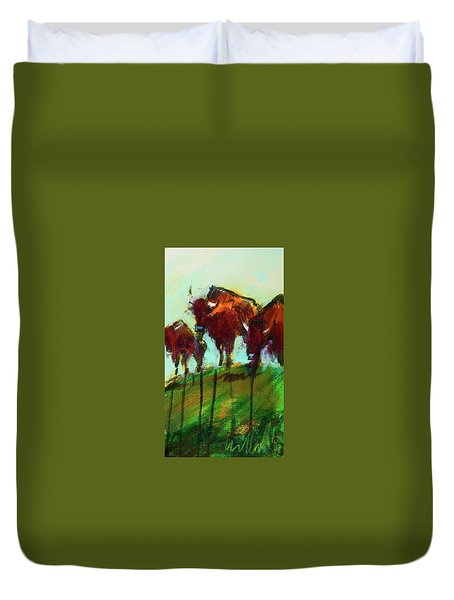 We Three Buffalo Duvet Cover