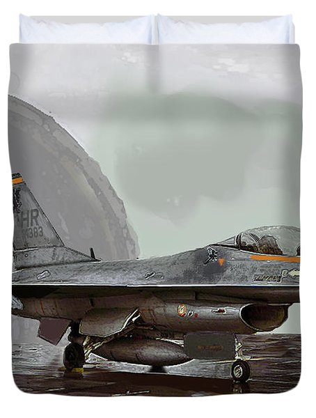 Duvet Cover featuring the digital art Weather Day by Walter Chamberlain