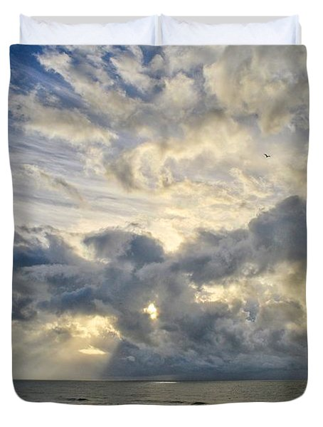 Weather Over Topsail Beach 2977 Duvet Cover