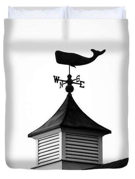 Weather Vane, Nantucket.    Black And White Duvet Cover