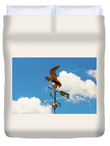 Weather Vane On Blue Sky Duvet Cover