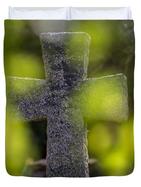 Duvet Cover featuring the photograph Weathered Cross by Clare Bambers