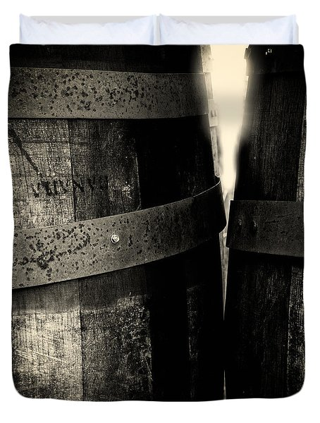 Weathered Old Apple Barrels Duvet Cover by Bob Orsillo