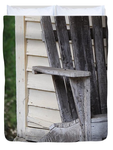 Duvet Cover featuring the photograph Weathered Porch Chair by Debbie Karnes