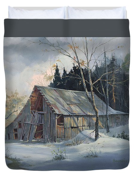 Duvet Cover featuring the painting Weathered Sunrise by Michael Humphries