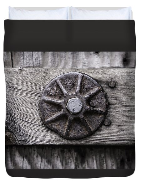 Weathered Wood And Metal One Duvet Cover by Kandy Hurley