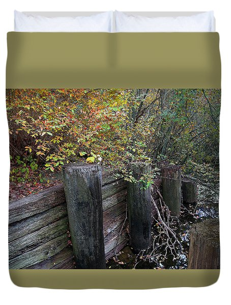 Weathered Wood In Autumn Duvet Cover