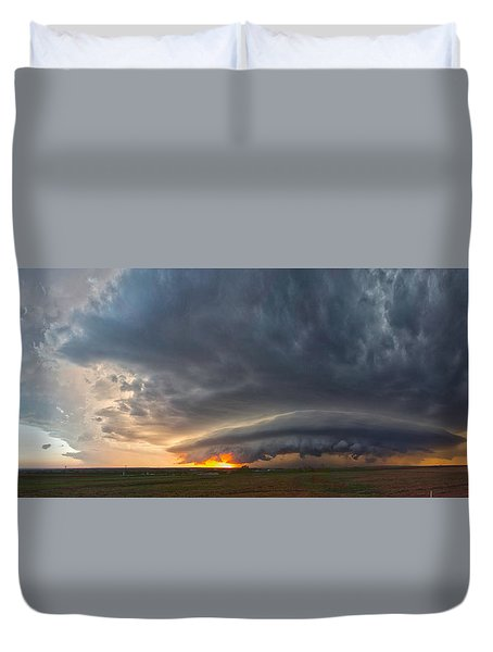 Duvet Cover featuring the photograph Weatherford Oklahoma Sunset Supercell by James Menzies