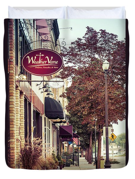Duvet Cover featuring the photograph Weathervane Downtown Menasha by Joel Witmeyer