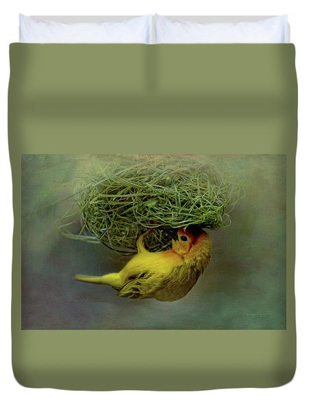 Weaver Bird Building A Nest Duvet Cover