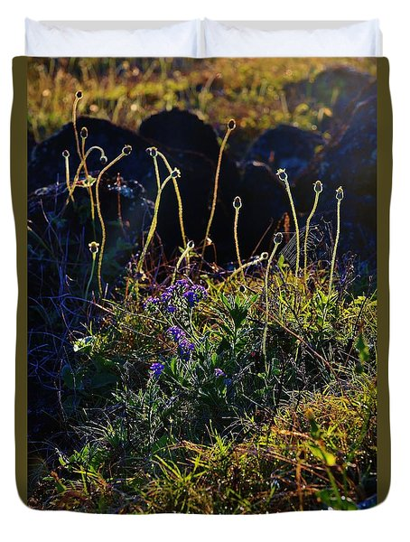 Web And Wild Flowers Duvet Cover by Craig Wood