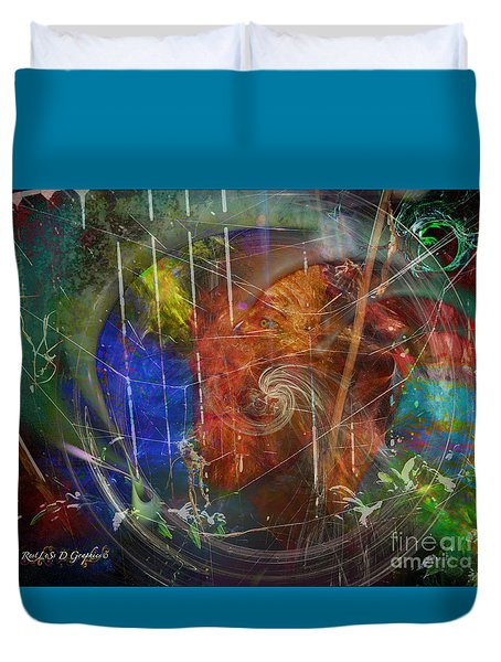 Duvet Cover featuring the digital art Web Of Collective Unconsciousness by Rhonda Strickland