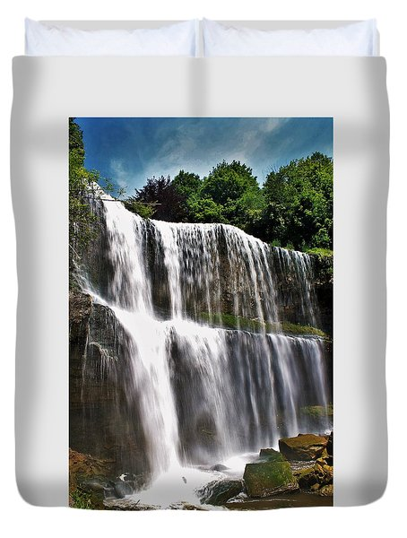 Websters Falls Portrait Duvet Cover