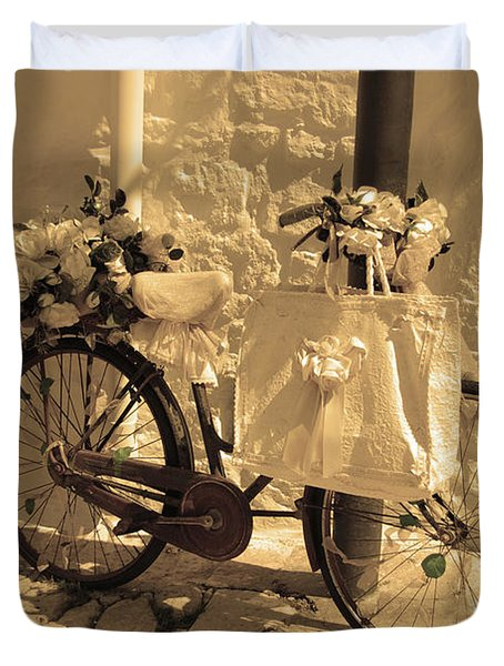 Wedding Bike Duvet Cover