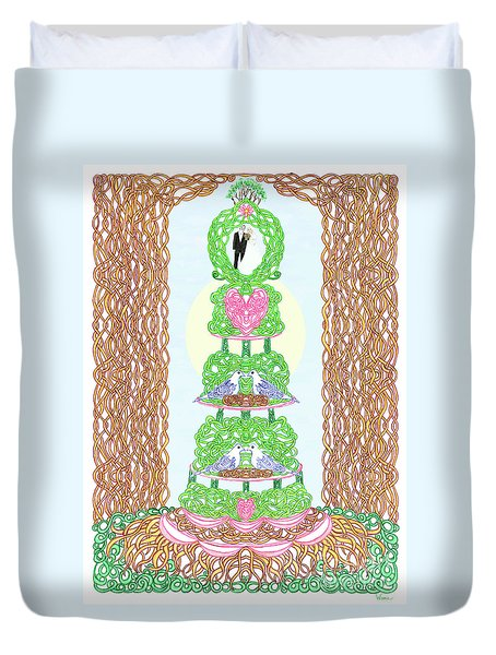 Wedding Cake With Doves Customize It With Names Of Bride And Groom Duvet Cover