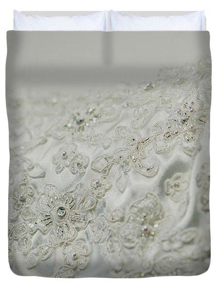 Wedding Dress Floral Beadwork Duvet Cover