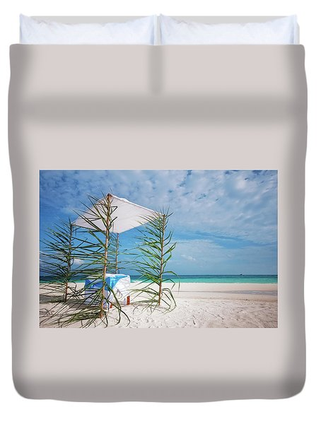 Duvet Cover featuring the photograph Wedding Tent On The Beach by Jenny Rainbow