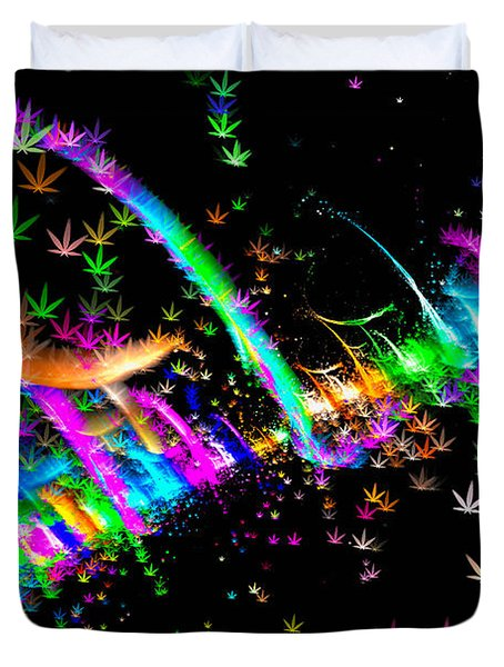 Weed Art - Colorful Fractal Joint Duvet Cover