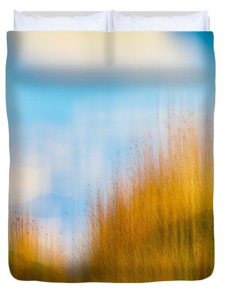 Weeds Under A Soft Blue Sky Duvet Cover