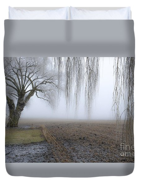 Weeping Frozen Willow Duvet Cover by Amy Fearn