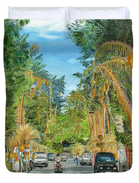 Duvet Cover featuring the painting Weeping Janur Bali Indonesia by Melly Terpening