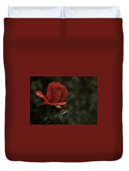 Weeping Red Rose Duvet Cover