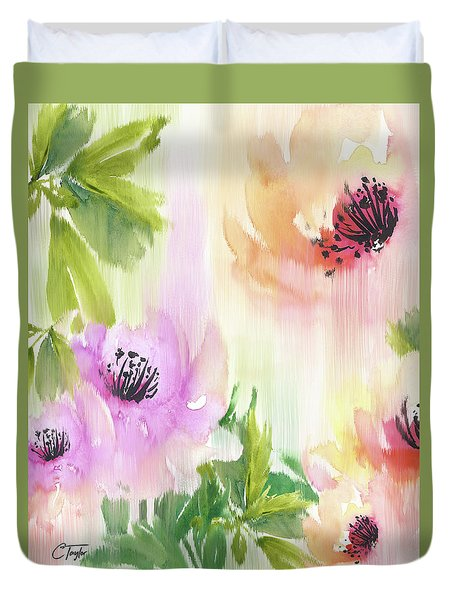 Duvet Cover featuring the painting Weeping Rose Forest by Colleen Taylor