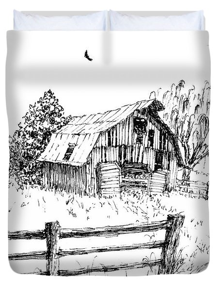 Weeping Willow And Barn One Duvet Cover