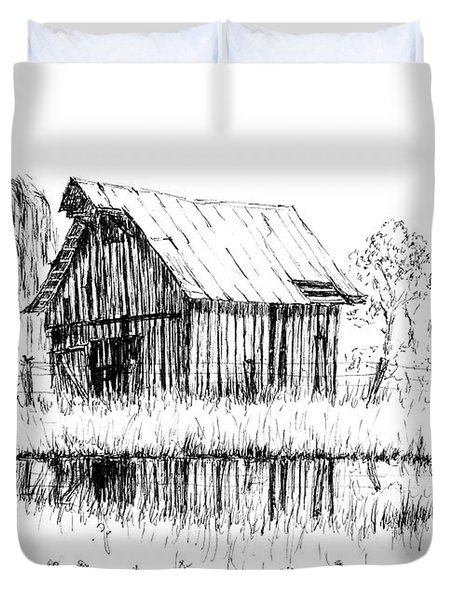 Weeping Willow And Barn Two Duvet Cover
