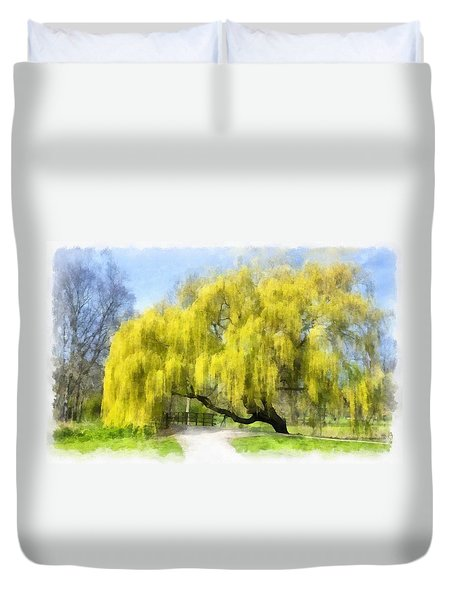 Weeping Willow Aquarell Duvet Cover
