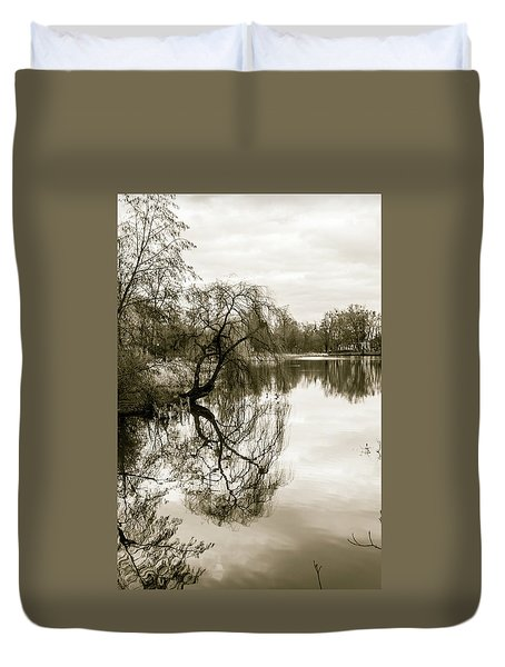 Weeping Willow Tree In The Winter Duvet Cover
