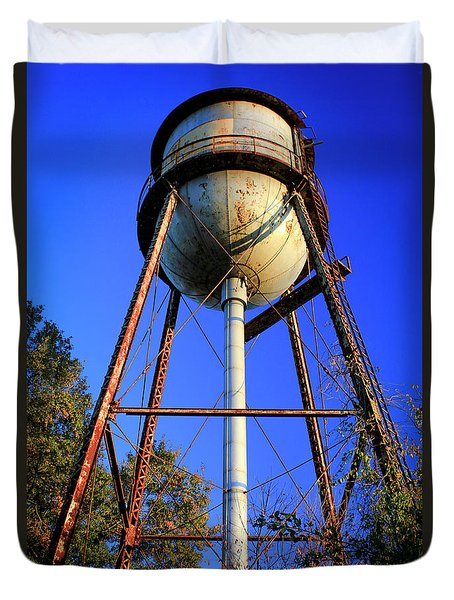 Duvet Cover featuring the photograph Weighty Water Cotton Mill  Water Tower Art by Reid Callaway
