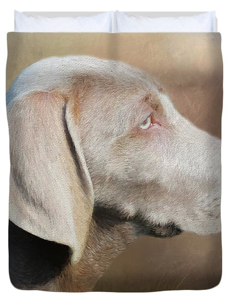 Duvet Cover featuring the painting Weimaraner Adult - Painting by Ericamaxine Price