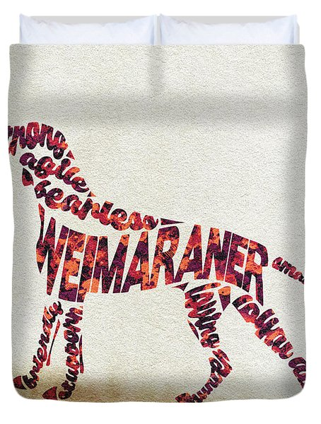 Duvet Cover featuring the painting Weimaraner Watercolor Painting / Typographic Art by Inspirowl Design