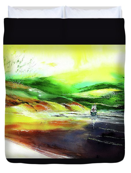Duvet Cover featuring the painting Welcome Back by Anil Nene