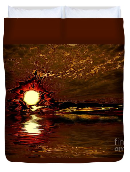 Welcome Beach Sunset 2 Series 1 Duvet Cover by Elaine Hunter