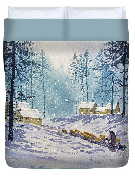 Welcome End To A Winter's Day Duvet Cover