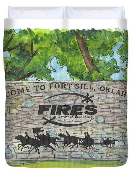 Welcome Sign Fort Sill Duvet Cover