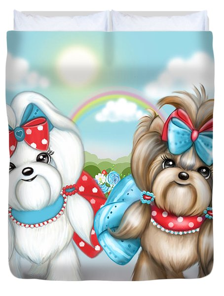Duvet Cover featuring the painting Welcome Spring Maltese And Yorkie by Catia Lee