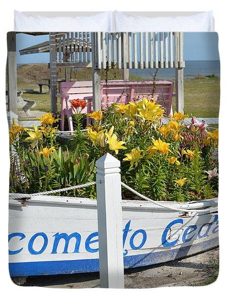 Welcome To Cedar Island Duvet Cover
