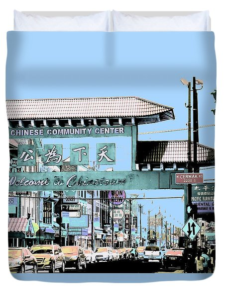 Duvet Cover featuring the photograph Welcome To Chinatown Sign Blue by Marianne Dow