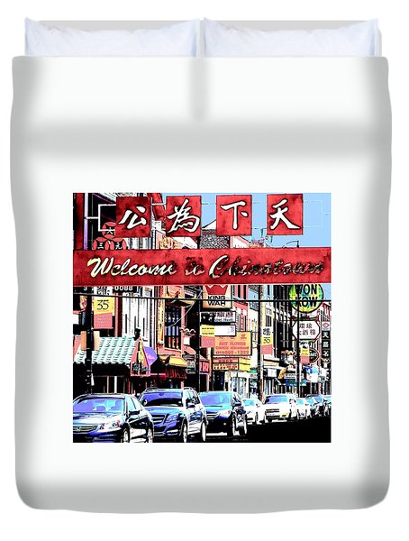 Duvet Cover featuring the photograph Welcome To Chinatown Sign Red by Marianne Dow
