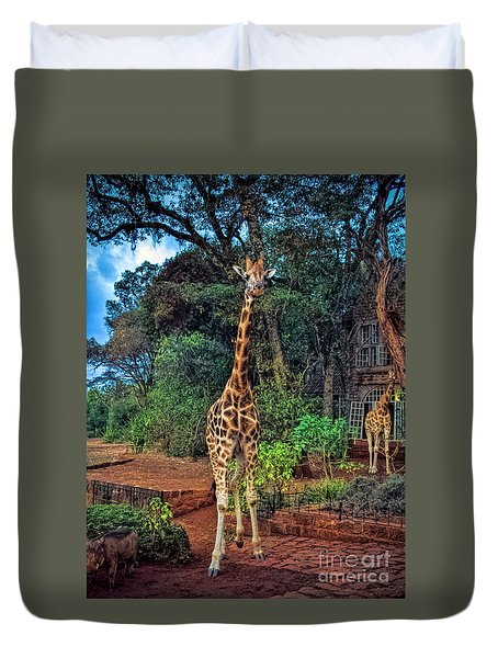 Welcome To Giraffe Manor Duvet Cover by Karen Lewis