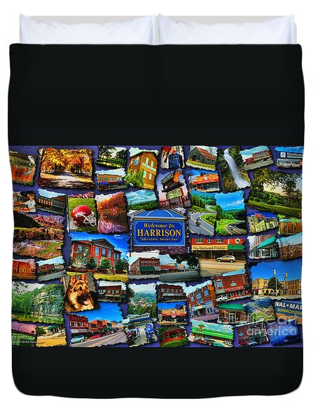 Duvet Cover featuring the digital art Welcome To Harrison Arkansas by Kathy Tarochione